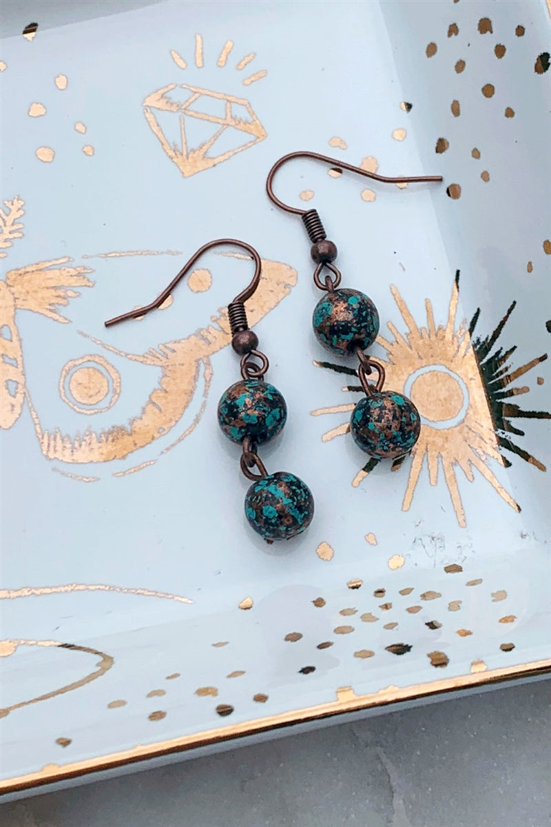 Dark Seas Patina Beaded Earrings