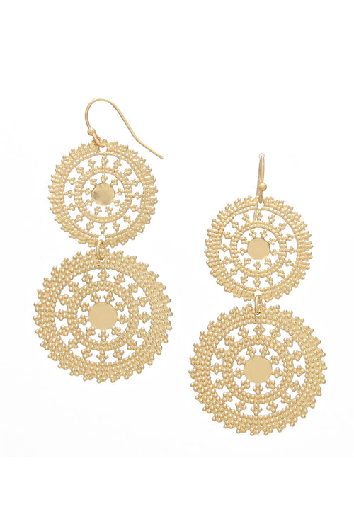 Wheel In The Sky Gold Statement Earrings