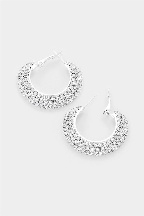 3 Rows Crystal Hoop Earrings