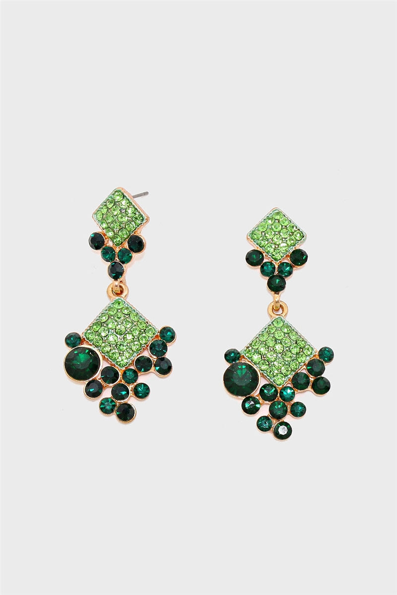 Green Light Crystal Statement Earrings