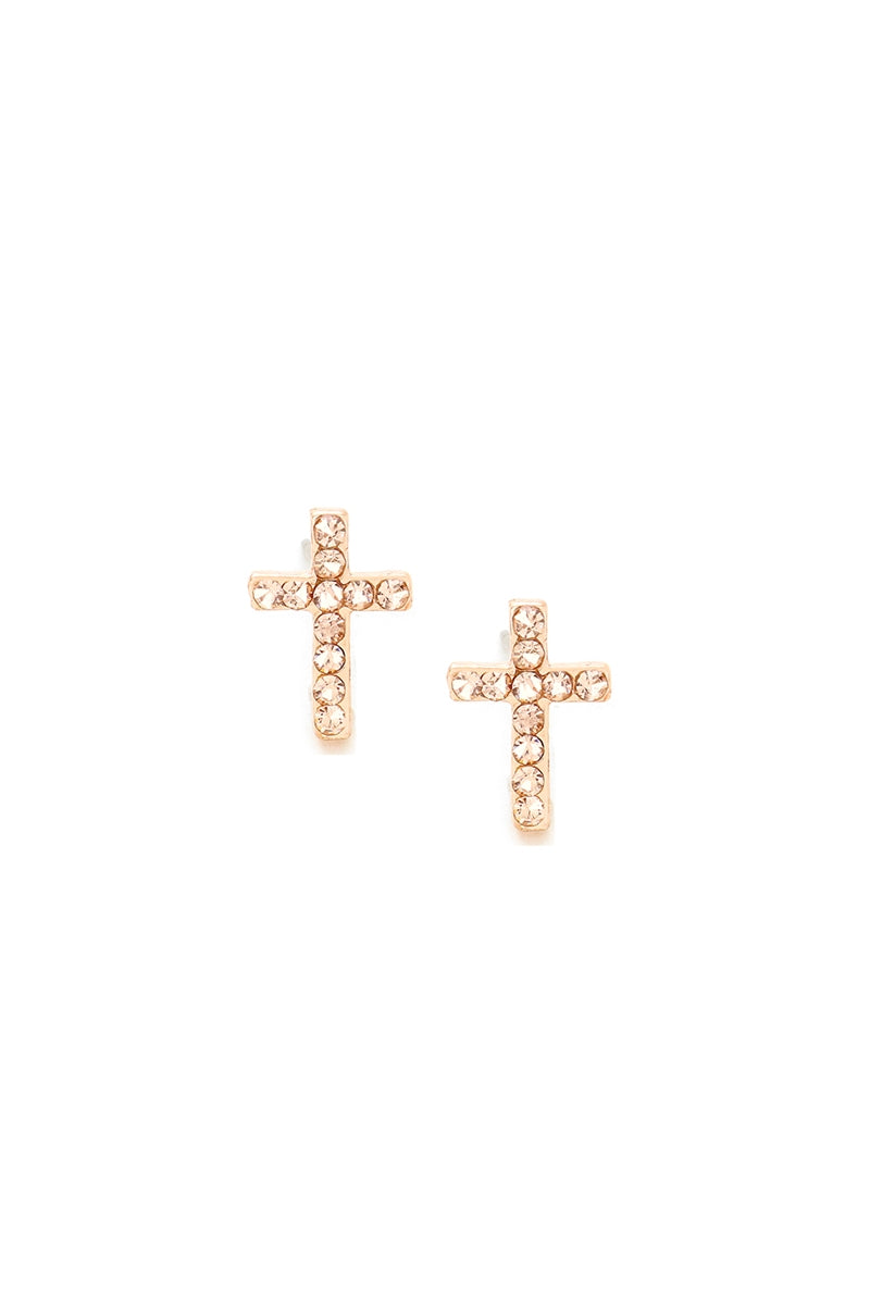 Pave Crystal Cross Stud Earrings
