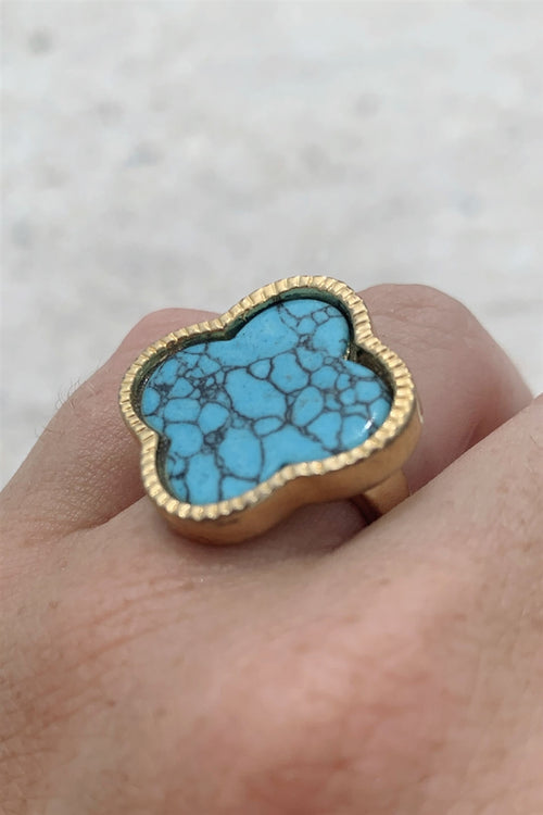 Turquoise Clover Ring
