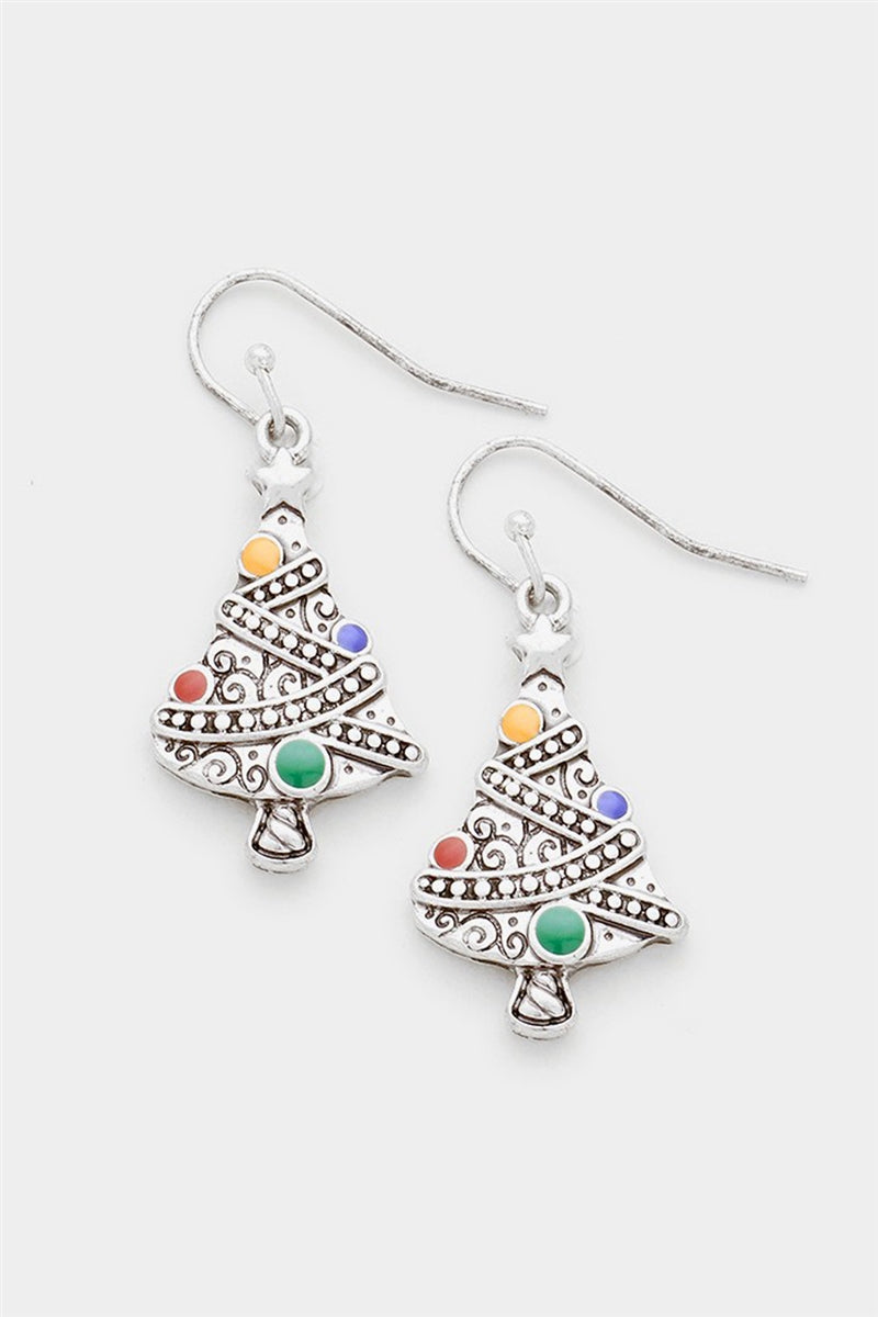 Lit Christmas Tree Dangle Earrings