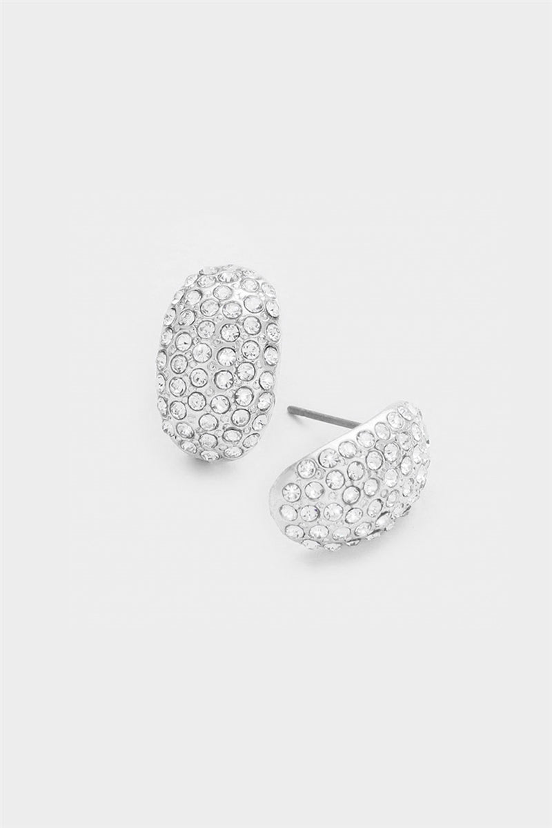 Pave Crystal Half Hoop Earrings