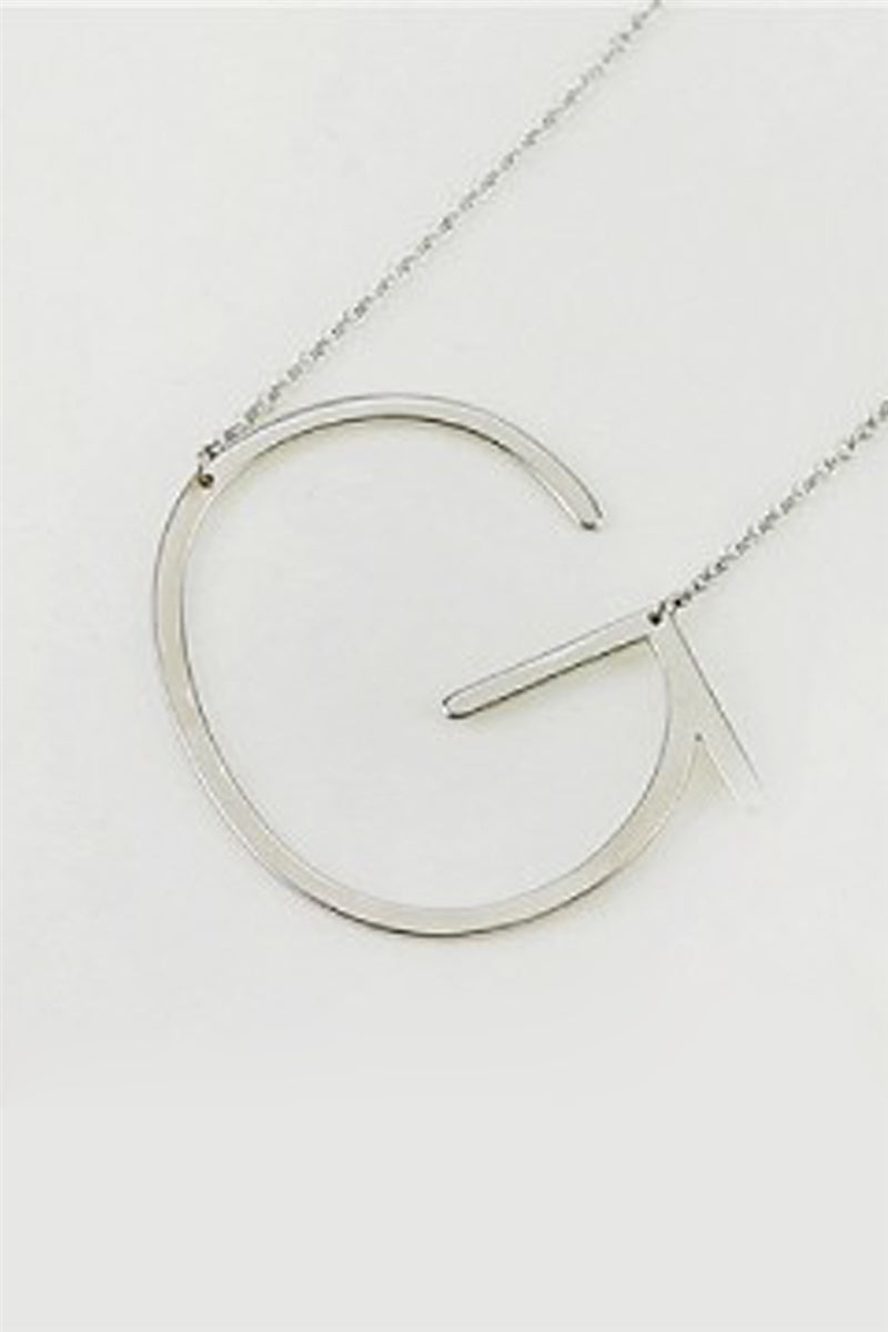 Large Silver Sideways Initial Necklace - G