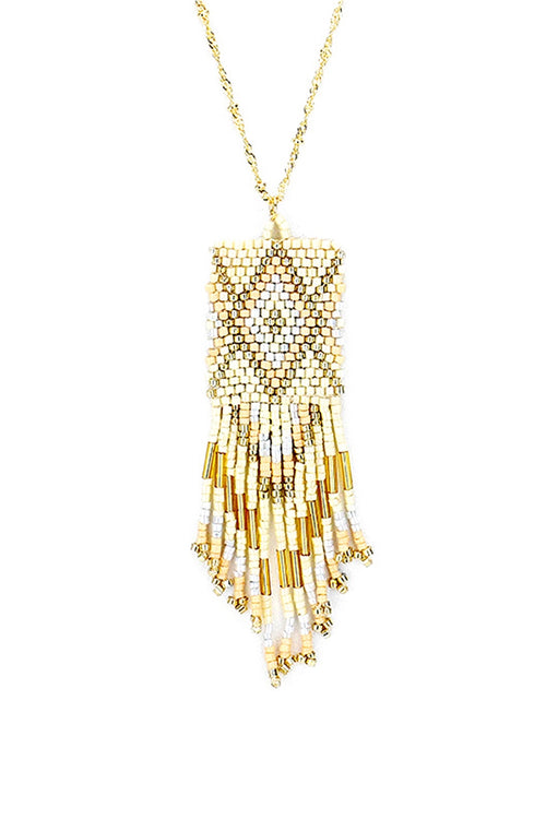 Champagne Wishes Boho Fringe Necklace