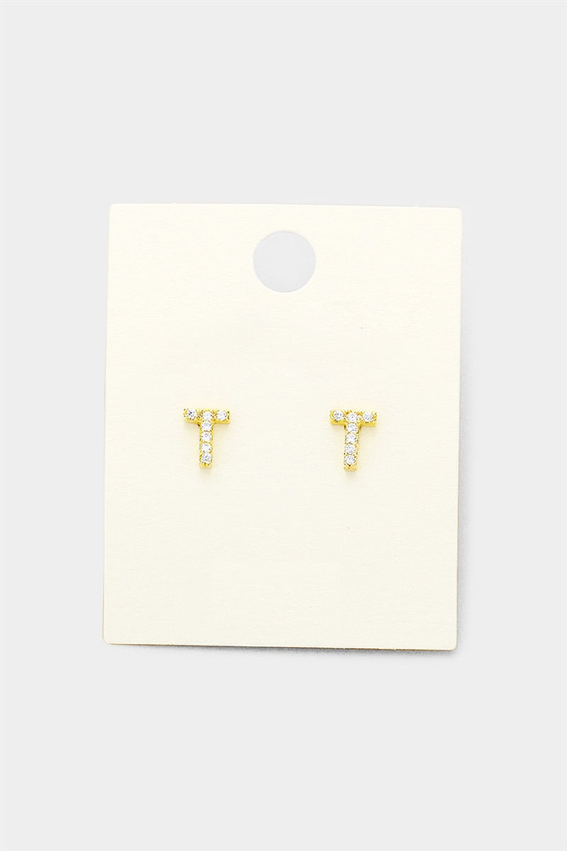 Crystal Initial Stud Earrings - T