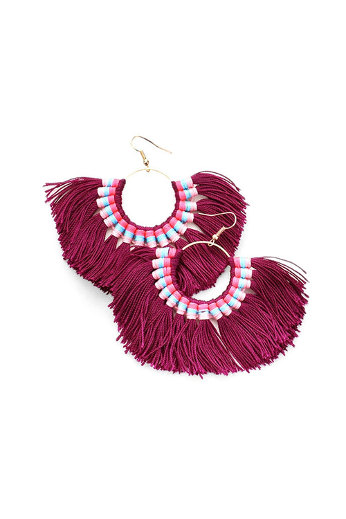 Fan Out Tassel Statement Earrings