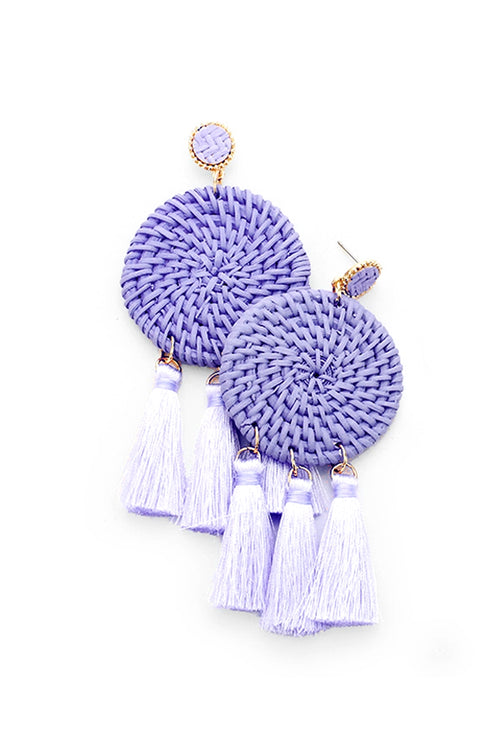 Hopeless Romantic Lavender Tassel Statement Earrings