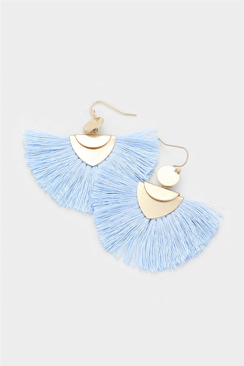 Geometric Fan Tassel Statement Earrings