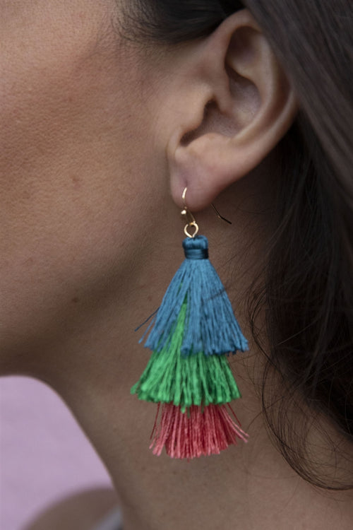 Pretty As A Peacock Tassel Statement Earrings