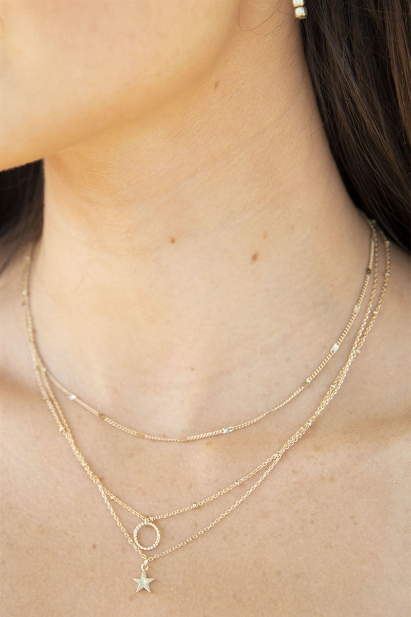 Triple Threat Layered Star Necklace