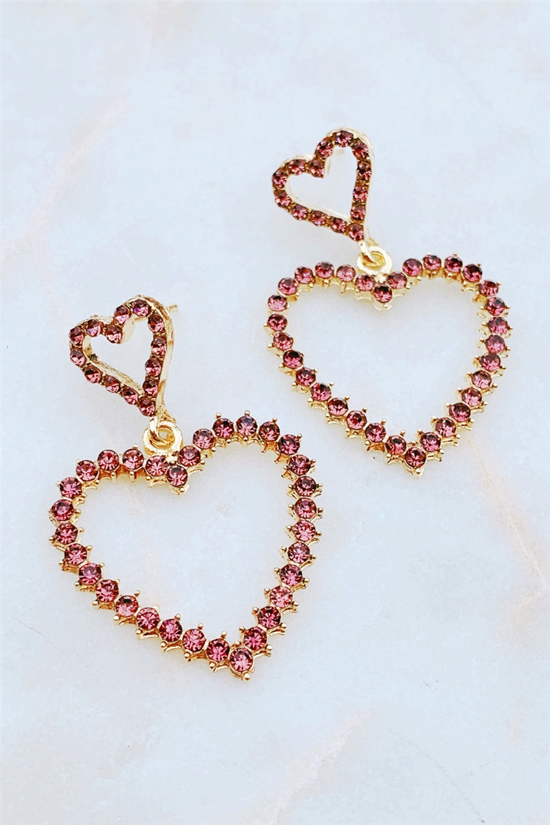 Rhinestone Heart Statement Earrings
