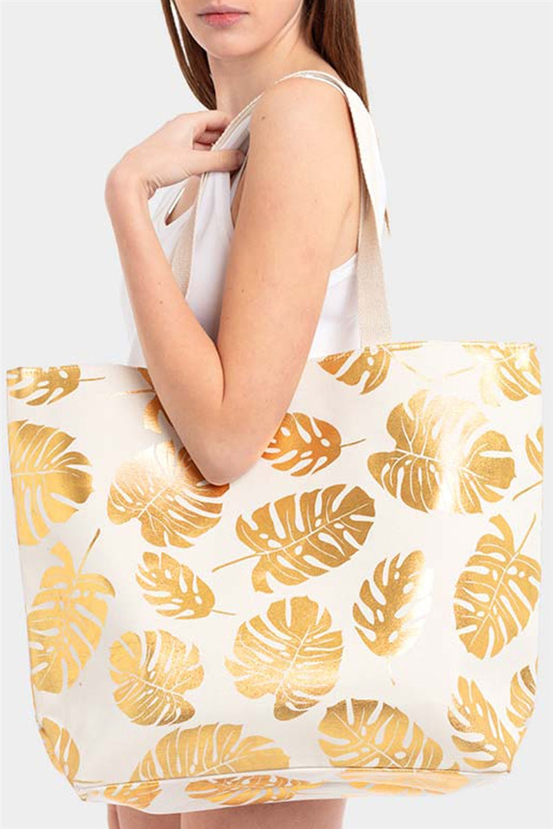 Lost In Paradise Tropical Leaf Metallic Tote Bag