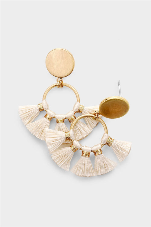 Hula Dancer Tassel Statement Hoop Earrings