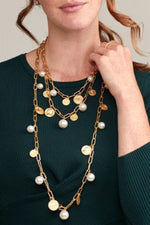 Long Coin Pearl Necklace