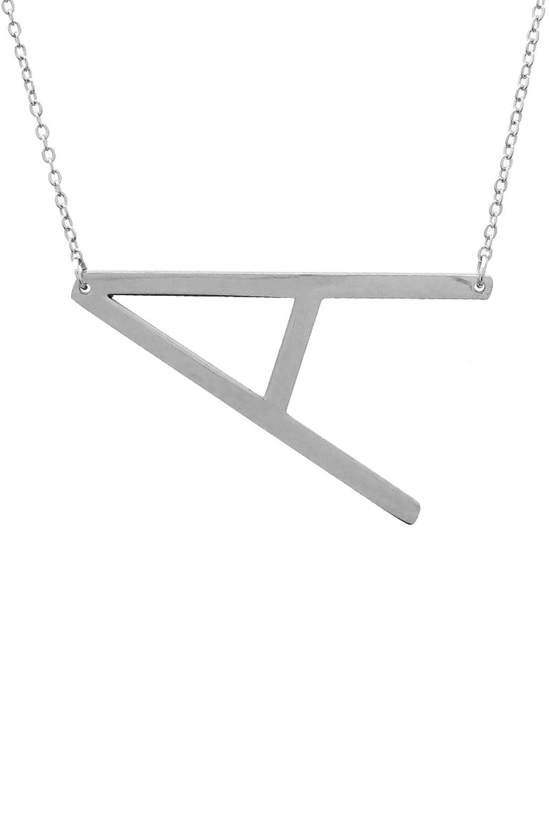 Large Sideways Silver Initial Necklace - A