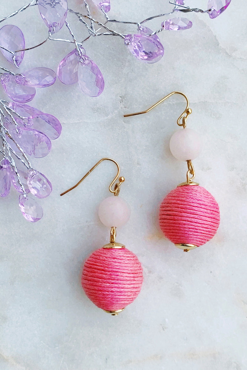 Pinky Thread Statement Earrings