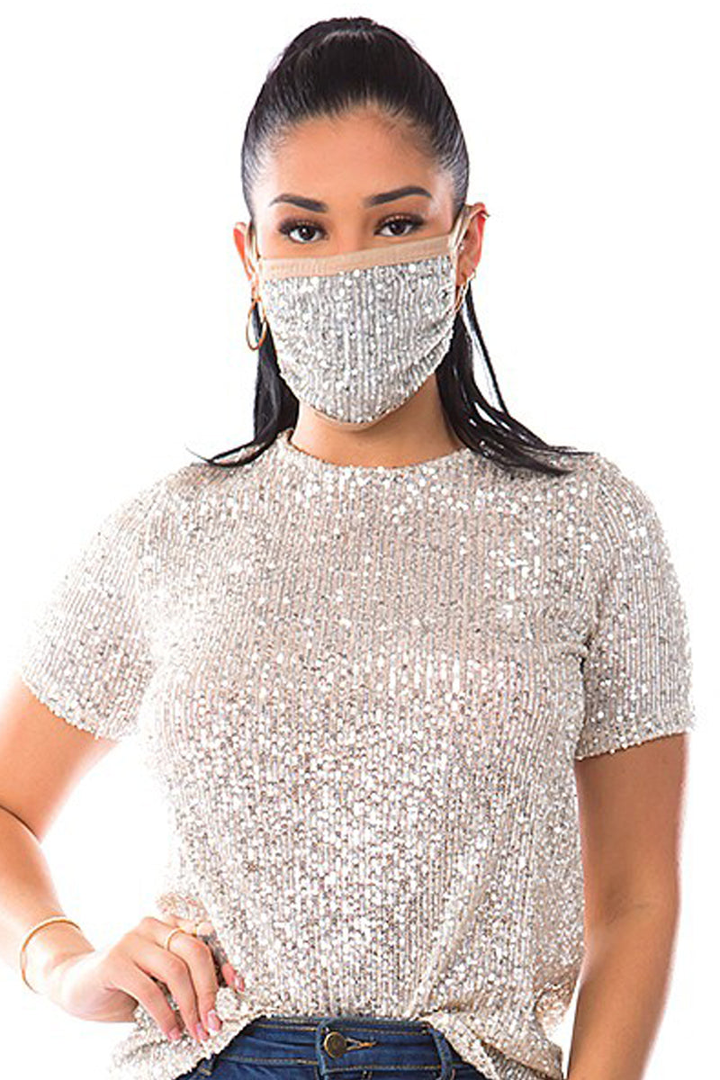 Isn't She Lovely Silver Sequin Face Mask