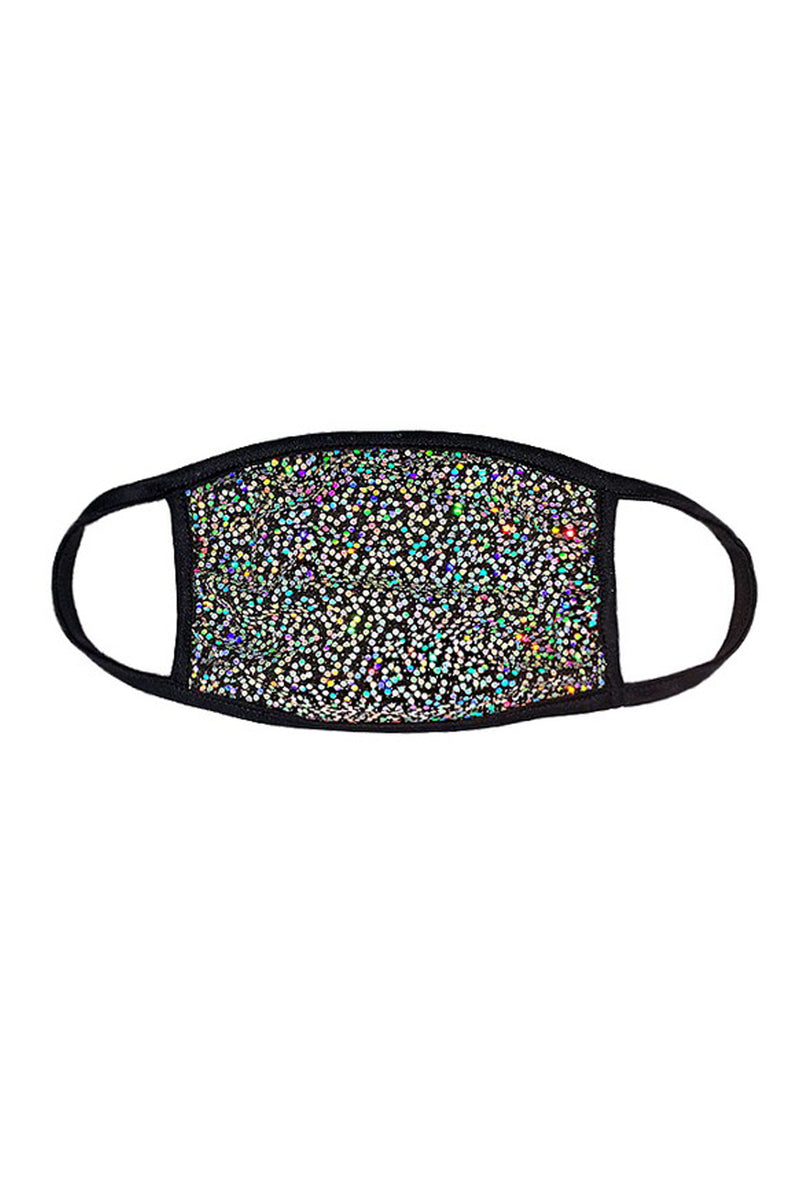 Party Time Silver Sequin Face Mask