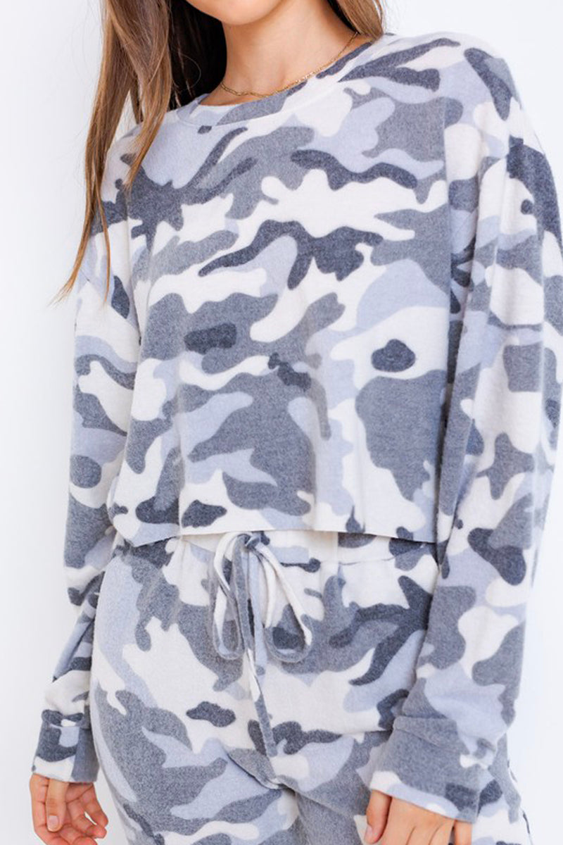 Blend In Camouflage Long Sleeve Crop Top