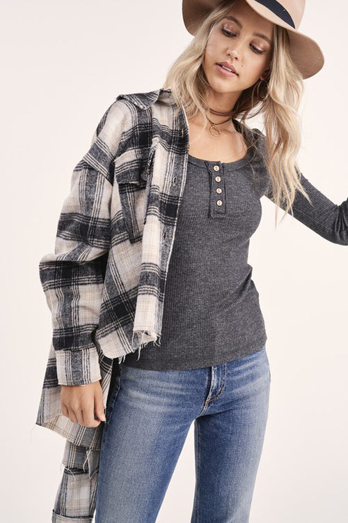 Take It Easy Cropped Flannel Black