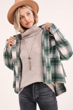 Take It Easy Cropped Flannel Hunter Green