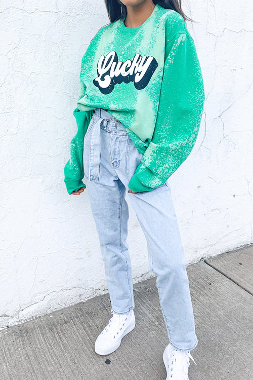 Lucky You Bleach Dyed Sweatshirt