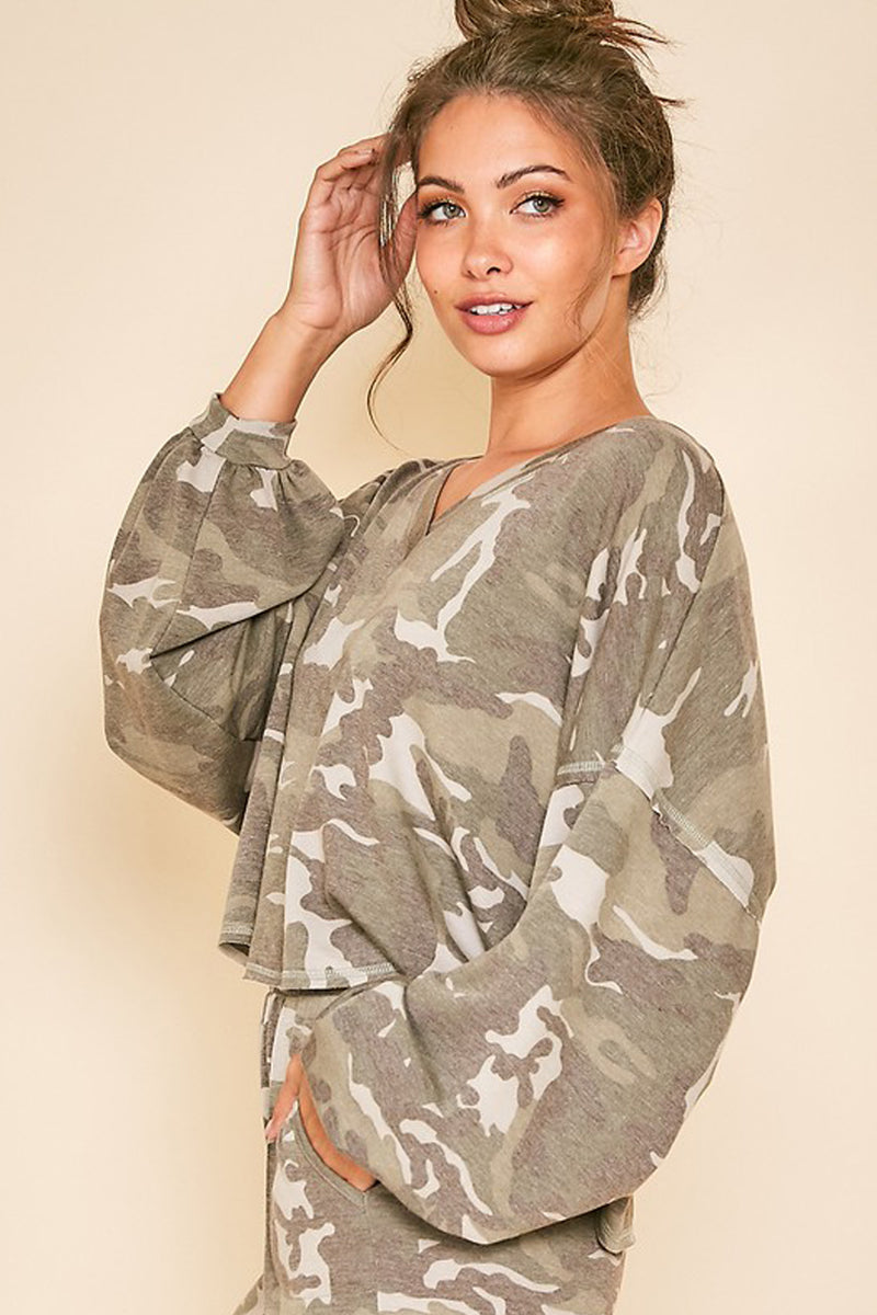 Command Attention Camouflage Long Sleeve Top