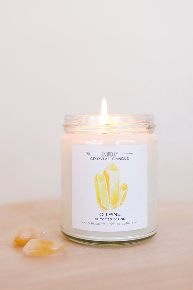 JaxKelly Citrine Crystal Candle - Success