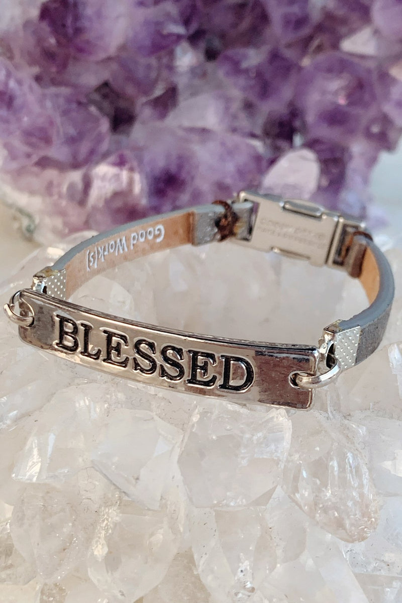 "Good Work(s) Make A Difference Silver Bar ""Blessed"" Bracelet"