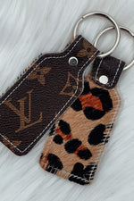 Upcycled LV & Leopard Keychain