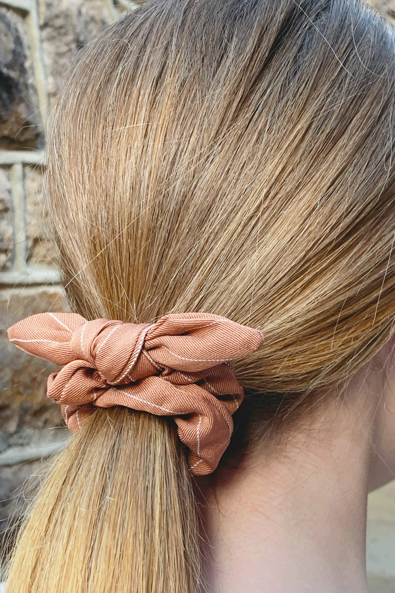 Beige Striped Bow Scrunchie