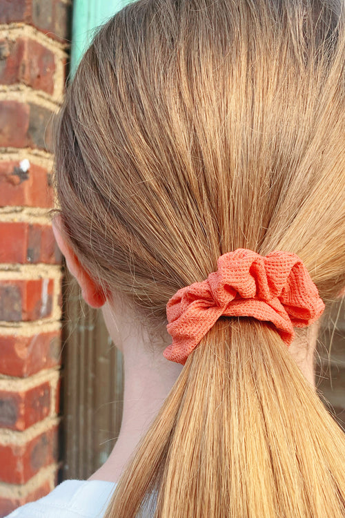 Coral Waffle Knit Scrunchie