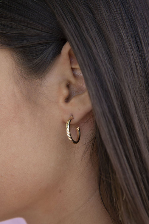 Medium Gold Twisted Hoop Earrings
