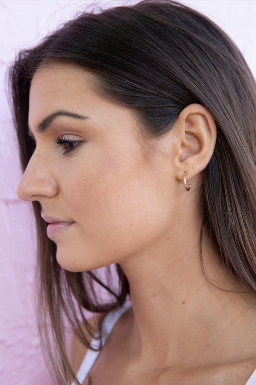 Mini Gold Textured Hoop Earrings