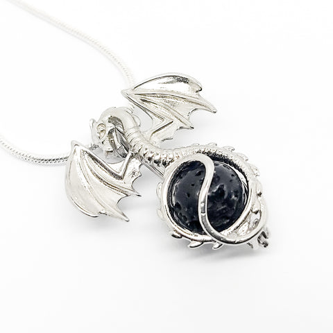Dragon Charm Pendant - Sterling Silver Aromatherapy Diffuser Necklace