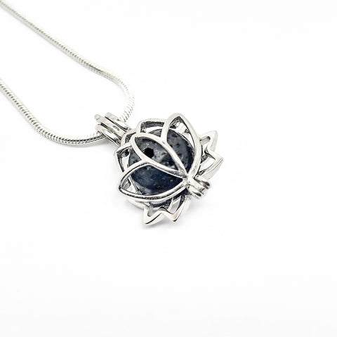 Lotus Flower Charm Pendant - Sterling Silver Aromatherapy Diffuser Necklace