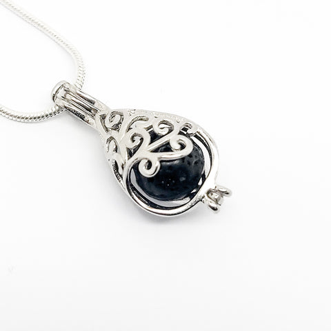 Droplet Charm Pendant - Sterling Silver Aromatherapy Diffuser Necklace