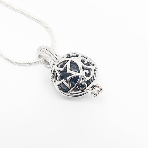 Moon & Star Charm Pendant - Sterling Silver Aromatherapy Diffuser Necklace