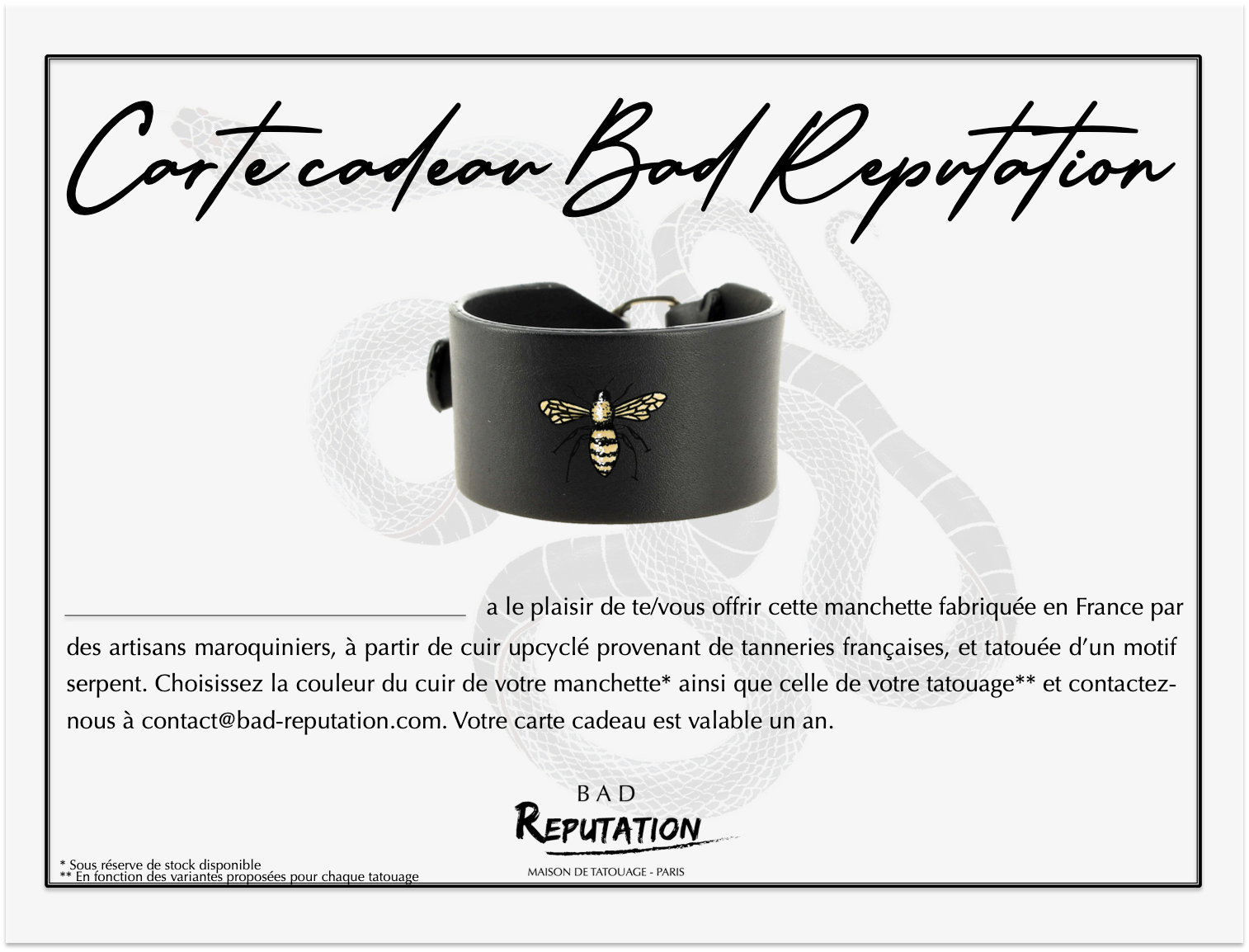 carte cadeau Bad Reputation manchette tatouage abeille