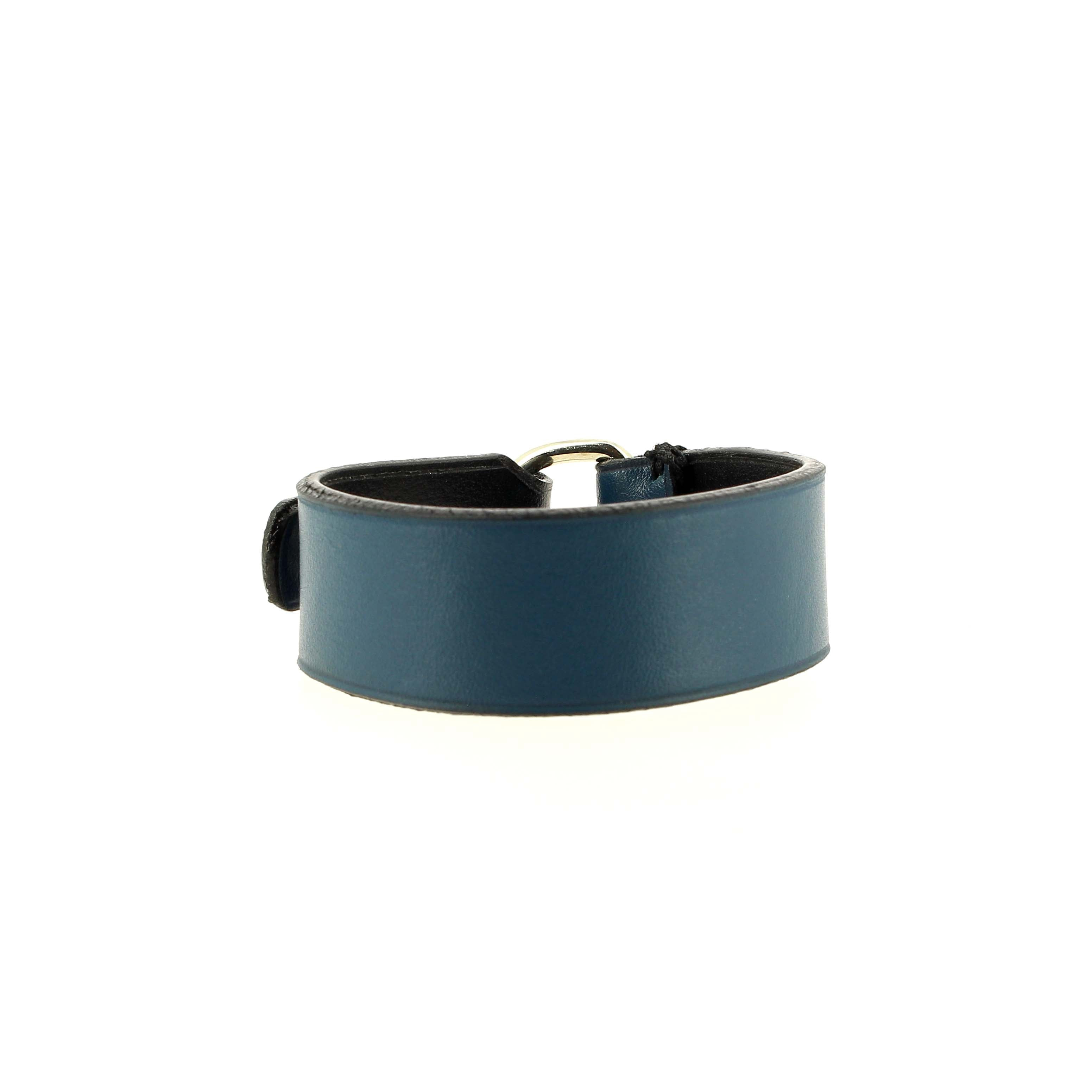 Bracelet Bad Reputation bleu en cuir fait main