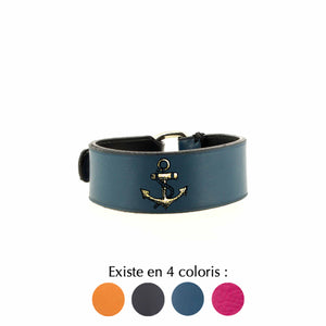 Bracelet en cuir bleu tatouage ancre marine Bad Reputation