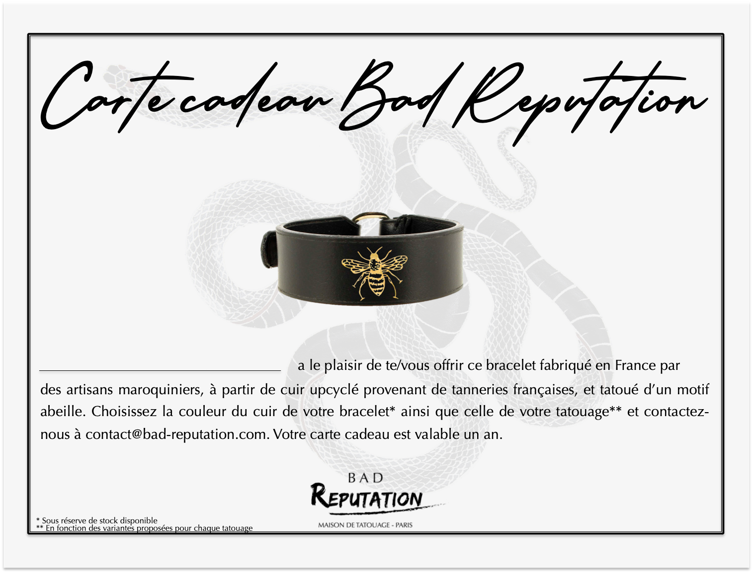carte cadeau Bad Reputation bracelet tatouage abeille