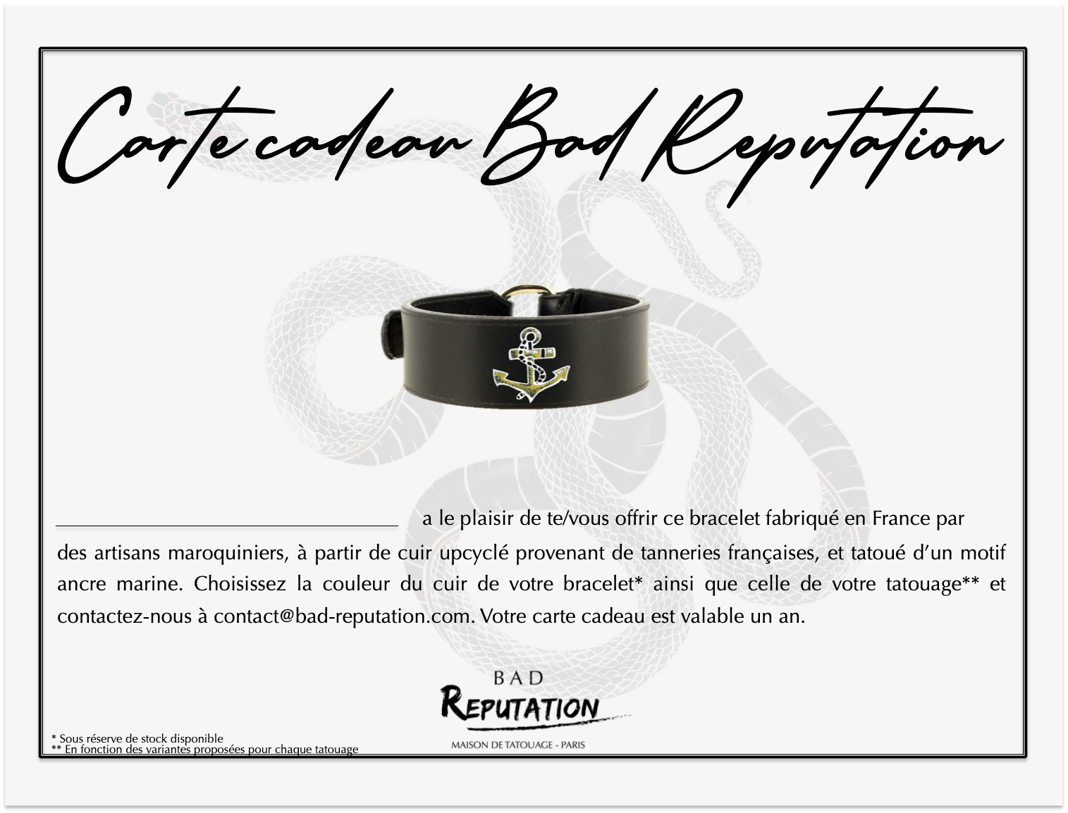 carte cadeau Bad Reputation bracelet en cuir tatouage ancre marine