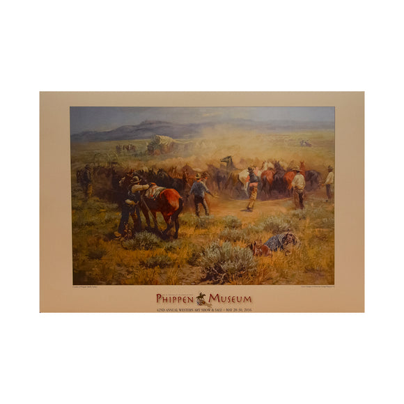 Noon change of Horses  Artwork by George Phippen   Phippen Western Art Show Poster  2016 42nd Annual