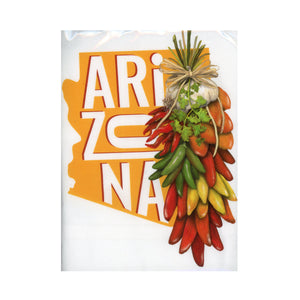Arizona: Flour Sack Towel with a decorative Arizona Graphic