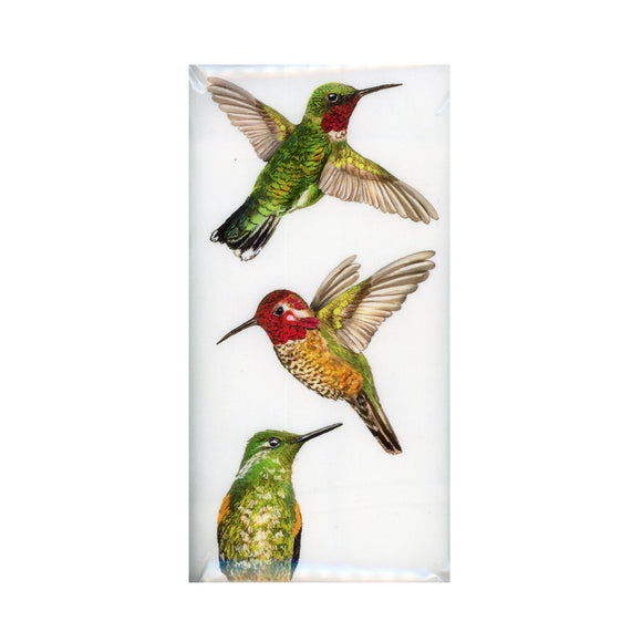 Hummingbirds: A single hand folded flour sack towel with a decorative graphic
