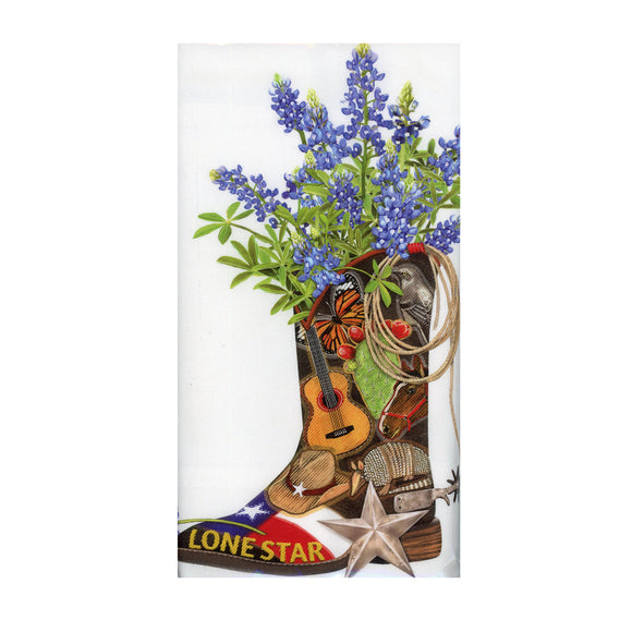Lone Star Boot - Flour Sack Towel with a decorative graphic