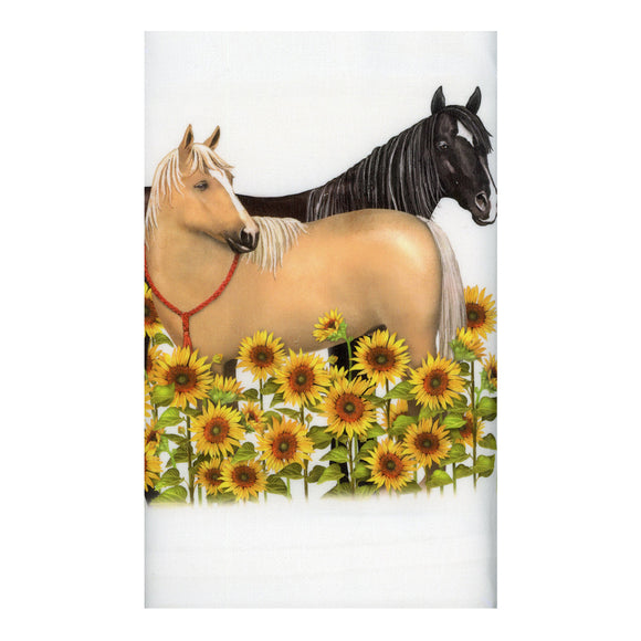 Sunflower Horses - Flour Sack Towel with a decorative graphic